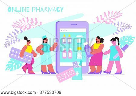 Online Pharmacy Menu On Smartphone Screen Flat Composition With People Choosing Medication Holding P