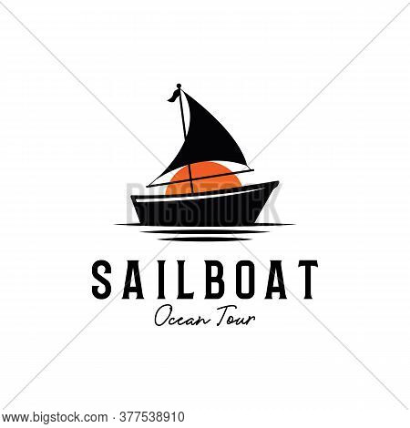 Ocean Tour Sailboat Silhouette Logo Design White Backgrounds Isolated, Sailboat Vector Sign Symbol