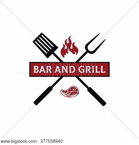 Bar And Grill Restaurant Logo Design, Grill And Bar With Fire, Meat, Grill Fork And Spatula
