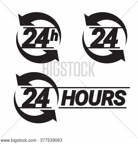 24 Hours Order Execution Or Delivery Service Icons. Vector Illustration