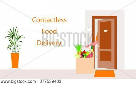 Vector Illustration Contactless Delivery. Food Bag Left At The Entrance To The House. Coronavirus Co