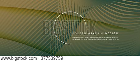 Green Landing Page Design. Abstract Flow Line Texture. Curve Technology Movement. Camouflage Futuris