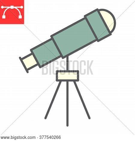 Telescope Color Line Icon, School And Education, Telescope Sign Vector Graphics, Editable Stroke Col
