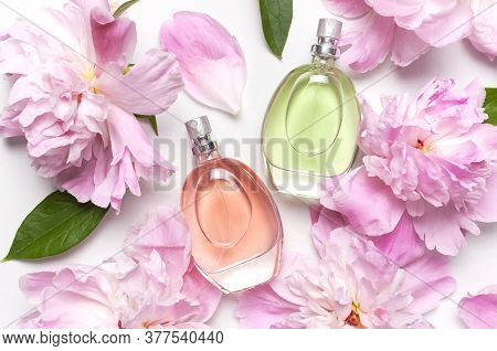 Beautiful Composition With Perfume And Flowers. Perfume Bottle, Pink Flowers Peonies Green Leaves On