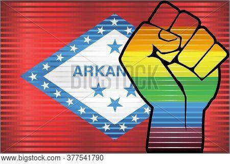 Shiny Lgbt Protest Fist On A Arkansas Flag - Illustration,  Abstract Grunge Arkansas Flag And Lgbt F