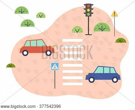 Street Traffic. Cars, Traffic Lights, Pedestrian Crossing, Road Signs, Zebra Crossing, Safe Driving.