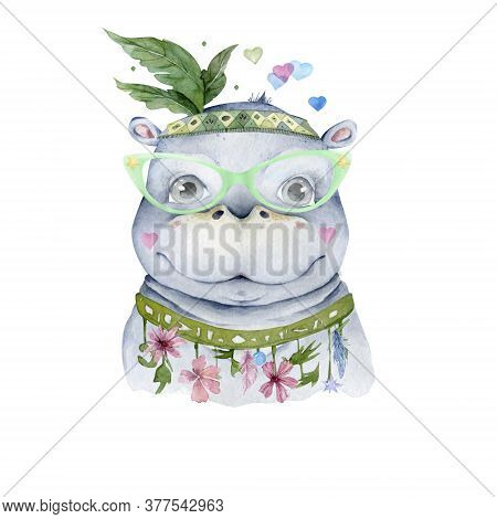 Cute Baby Hippo Hand Drawn Adorable Watercolor Illustration On White Background
