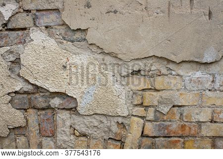 The Texture Of The Old Brickwork And Old Plaster