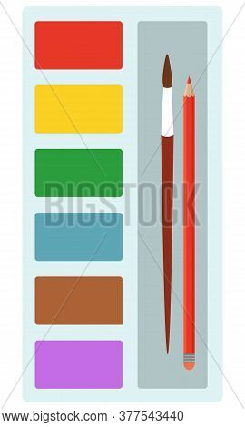 Palette Of Colors For Painting With Tassel, Brash And Pencil Vector For Drawing Paintings. Contains