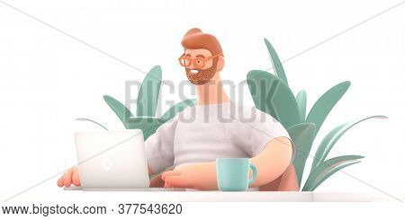 Home Office 3D render modern concept digital illustration home office quarantine metaphor, a cartoon character, guy working at home sitting at the desk with a laptop. Creative landing web page header