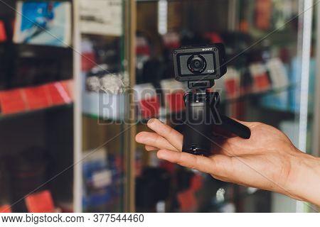 Ufa, Russia, 3 January, 2020: The Sony Rx0 Ii Ultra-compact Camera Offers Internal 4k 30p Recording
