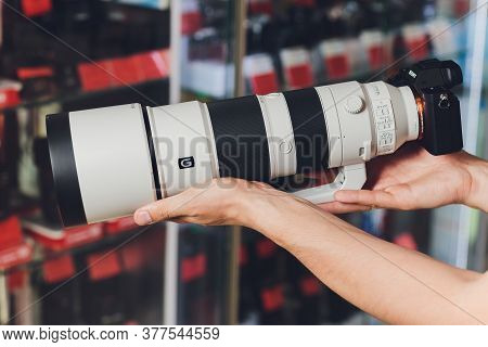 Ufa, Russia, 3 January, 2020: Sony Store Is Display The New Telephoto Camera Lens As Fe 200-600 G Cl