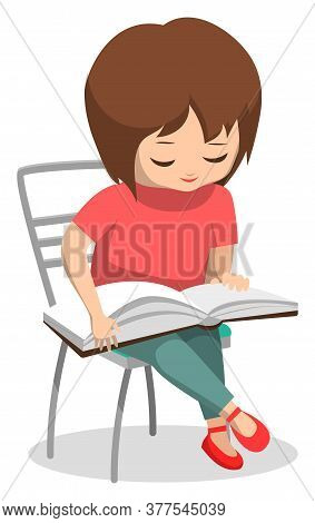 Student Reading Book Vector, Isolated Female Character Small Kid Pupil With Textbook. Back To School