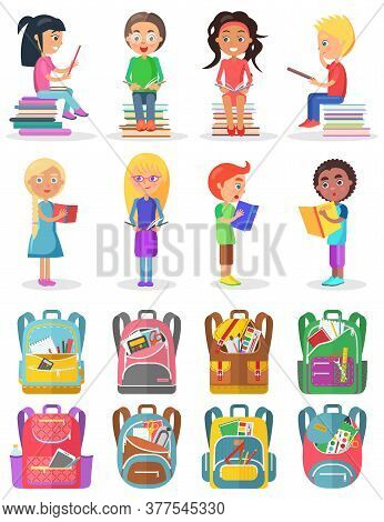Smiling Boy And Girl Reading Book, Educational Object. School Bag Set, Learn Homework, Pupils With T