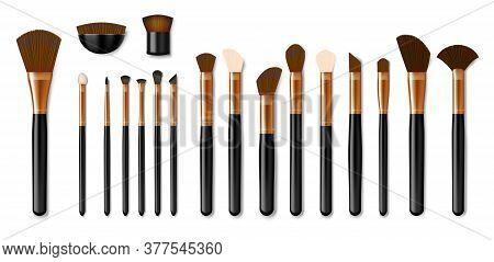 Set Of Professional Golden Makeup Brushes Isolated On White Background. Realistic Powder Blush, Eye