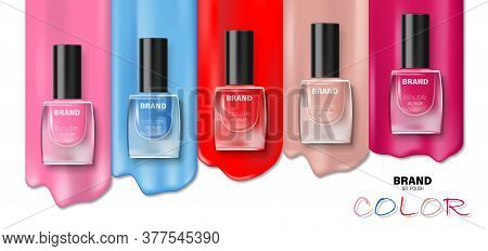 Fashion Various Colors Nail Lacquer Ads. Nail Polish Splatter On White Background For Design Cosmeti