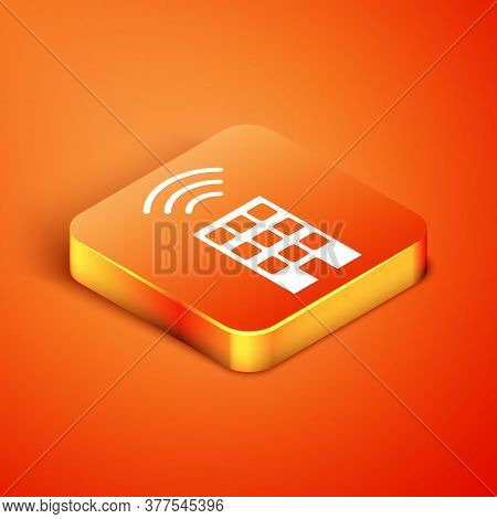 Isometric Smart Home With Wireless Icon Isolated On Orange Background. Remote Control. Internet Of T