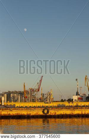 Portal Cranes Of Port In Odessa, Black Sea. Berth Moorings.
