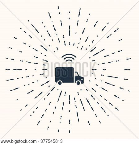 Grey Smart Delivery Cargo Truck Vehicle With Wireless Connection Icon Isolated On Beige Background.