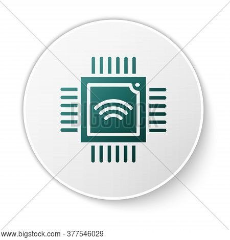 Green Computer Processor With Microcircuits Cpu Icon Isolated On White Background. Chip Or Cpu With