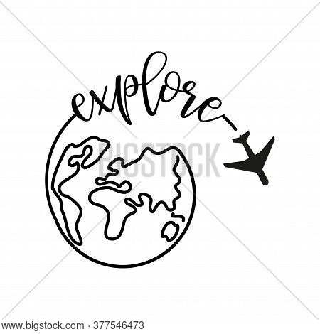Explore - around the World. Airplane fly around the planet Earth. Logo. Black line Globe with flying plane icon isolated on white background. Airplane fly around the planet earth.