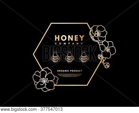 Honey Logo With Gold Gradient Honeybee In Frame Hexagon With Flower. Label Banner For Company Isolat