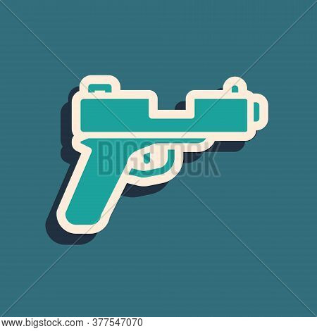 Green Pistol Or Gun Icon Isolated On Green Background. Police Or Military Handgun. Small Firearm. Lo