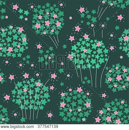 Fireworks, Seamless Pattern, Color, Green. Green And Pink Stars On A Green Background. Holiday. Fire