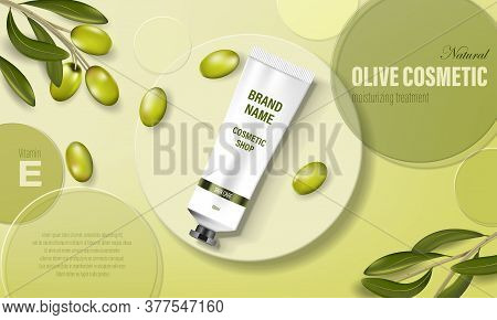 Moisturizing Hand Cream Jar Product Ad With Olive Oil. Cosmetic Poster Ad With Green Olives And Circ