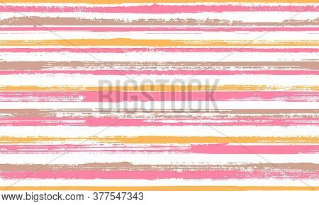 Pain Freehand Irregular Stripes Vector Seamless Pattern. Traditional Decorative Wallpaper Design. Re