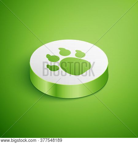 Isometric Paw Print Icon Isolated On Green Background. Dog Or Cat Paw Print. Animal Track. White Cir