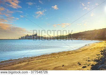 Talamone Beach And Village At Sunset. Italian Travel Destination In Maremma. Grosseto, Tuscany, Ital