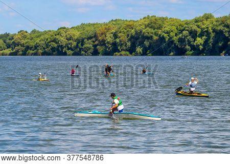 Ukraine, Khmelnytsky. July 2020. Training Of Children In A Canoe