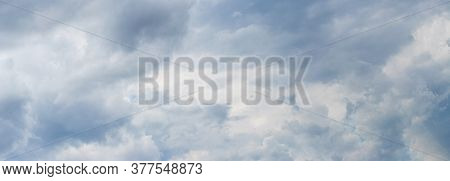 Panorama Of Cloudy Sky, Sky With Light Blue And Gray Clouds