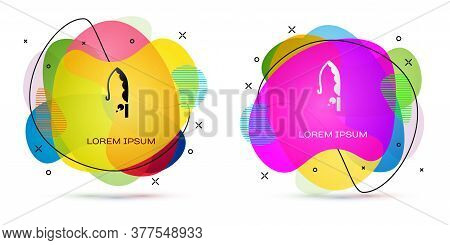 Color Fishing Rod Icon Isolated On White Background. Catch A Big Fish. Fishing Equipment And Fish Fa