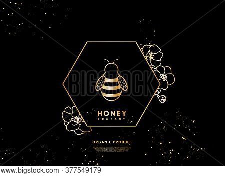 Vector Line Logo With Gold Honeybee And Flowers For Company, Label Isolated On Black Background.