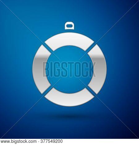 Silver Lifebuoy Icon Isolated On Blue Background. Lifebelt Symbol. Vector