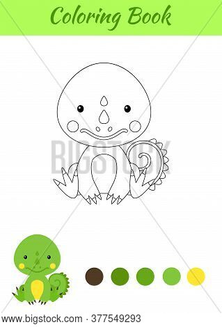 Coloring Page Little Sitting Baby Iguana. Coloring Book For Kids. Educational Activity For Preschool