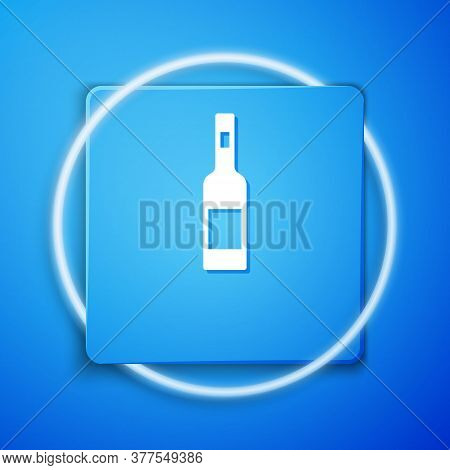 White Glass Bottle Of Vodka Icon Isolated On Blue Background. Blue Square Button. Vector
