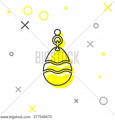Grey Line Fishing Spoon Icon Isolated On White Background. Fishing Baits In Shape Of Fish. Fishing T