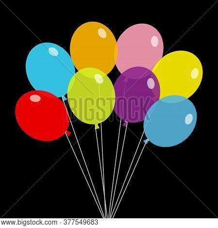 Bunch Of Balloons. Balloon Set. Colorful Transparent Helium Toy On String Thread. Cute Flying Throug