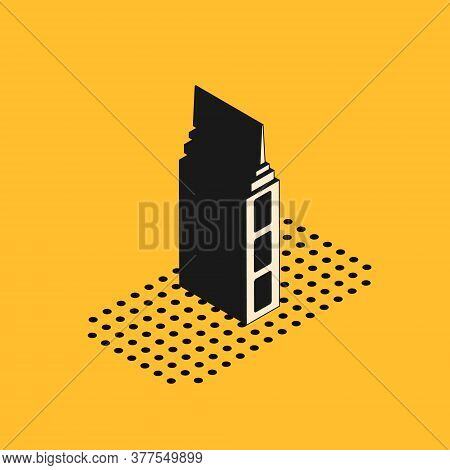 Isometric Skyscraper Icon Isolated On Yellow Background. Metropolis Architecture Panoramic Landscape