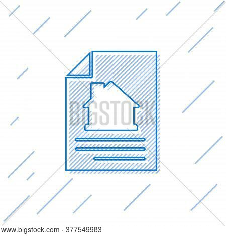 Blue Line House Contract Icon Isolated On White Background. Contract Creation Service, Document Form