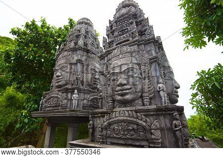 Khmer Culture On Koh Phangan Island In Thailand, Statues Of Ancient Gods, Oriental Architecture