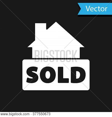 White Hanging Sign With Text Sold Icon Isolated On Black Background. Sold Sticker. Sold Signboard. V