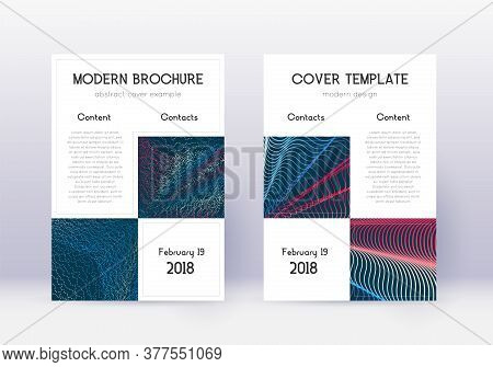 Business Cover Design Template Set. Red Abstract Lines On White Blue Background. Astonishing Cover D
