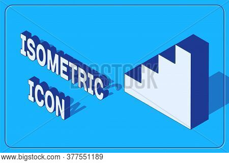 Isometric Staircase Icon Isolated On Blue Background. Vector
