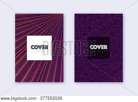 Hipster Cover Design Template Set. Violet Abstract Lines On Dark Background. Curious Cover Design. J
