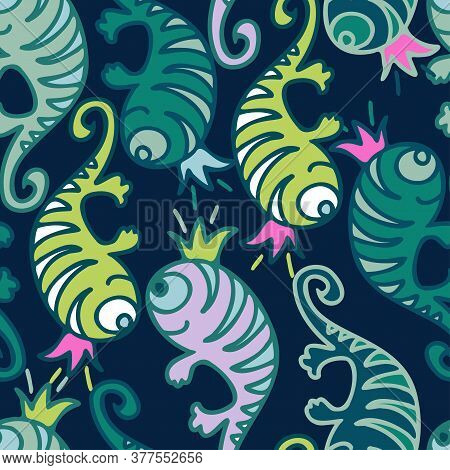 Vector Seamless Lined Colorful Pattern Of Abstract Cartoon Lizards On Dark