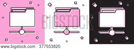 Set Ftp Folder Icon Isolated On Pink And White, Black Background. Software Update, Transfer Protocol